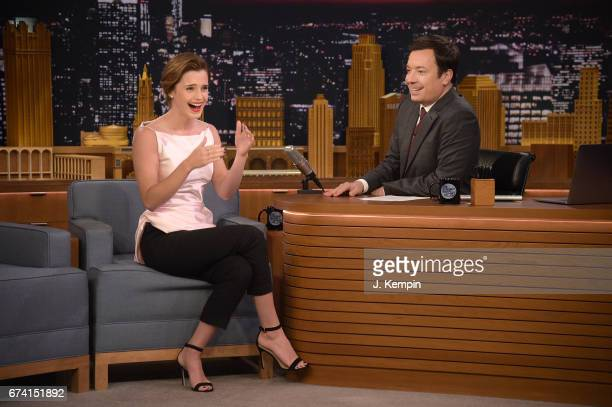 Actress Emma Watson and host Jimmy Fallon visit 'The Tonight Show Starring Jimmy Fallon' at Rockefeller Center on April 27 2017 in New York City