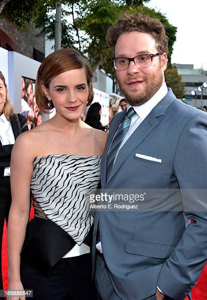 "Actress Emma Watson and writer/director/actor Seth Rogen attend Columbia Pictures' ""This Is The End"" premiere at Regency Village Theatre on June 3,..."