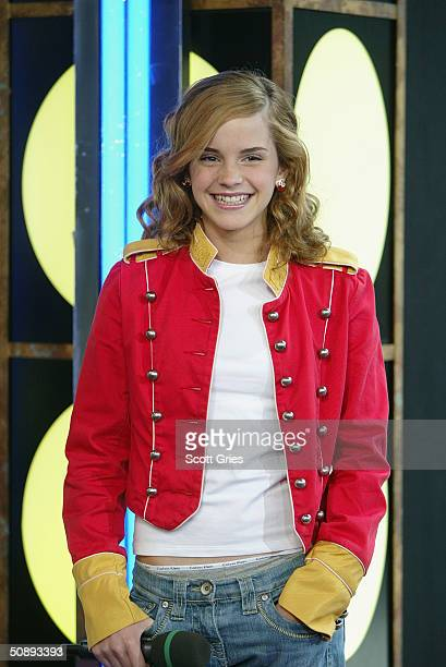 Actress Emma Watson appears on stage during MTV's Total Request Live at the MTV Times Square Studios May 21 2004 in New York City Watson stars in the...