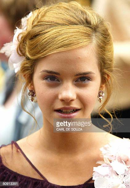Actress Emma Watson arrives 30 May 2004 at the premiere for the latest Harry Potter Film the Prisoner of Azkaban at Leicester Square London AFP...