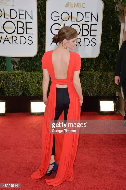Actress Emma Watson arrives at the 71st Annual Golden Globe Awards at The Beverly Hilton Hotel on January 12 2014 in Beverly Hills California