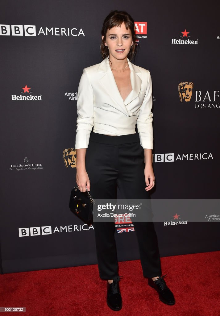 Actress Emma Watson arrives at The BAFTA Los Angeles Tea Party at Four Seasons Hotel Los Angeles at Beverly Hills on January 6, 2018 in Los Angeles, California.