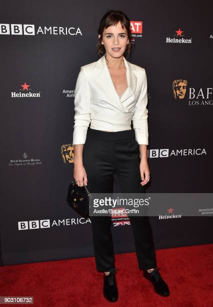 Actress Emma Watson arrives at The BAFTA Los Angeles Tea Party at Four Seasons Hotel Los Angeles at Beverly Hills on January 6, 2018 in Los Angeles,...