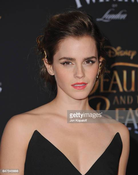 Actress Emma Watson arrives at the Los Angeles Premiere 'Beauty And The Beast' at El Capitan Theatre on March 2 2017 in Los Angeles California