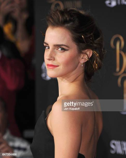 """Actress Emma Watson arrives at the Los Angeles Premiere """"Beauty And The Beast"""" at El Capitan Theatre on March 2, 2017 in Los Angeles, California."""