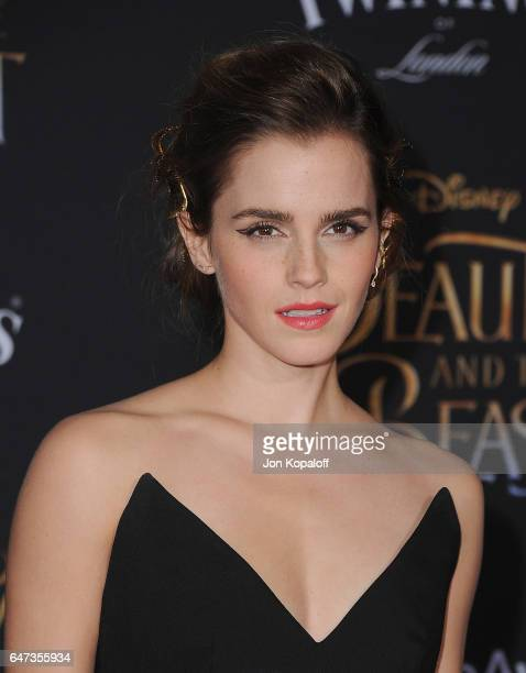 "Actress Emma Watson arrives at the Los Angeles Premiere ""Beauty And The Beast"" at El Capitan Theatre on March 2, 2017 in Los Angeles, California."