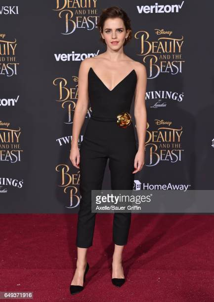 Actress Emma Watson arrives at the Los Angeles Premiere of 'Beauty and the Beast' at El Capitan Theatre on March 2, 2017 in Los Angeles, California.