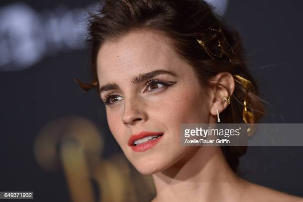 Actress Emma Watson arrives at the Los Angeles Premiere of 'Beauty and the Beast' at El Capitan Theatre on March 2 2017 in Los Angeles California