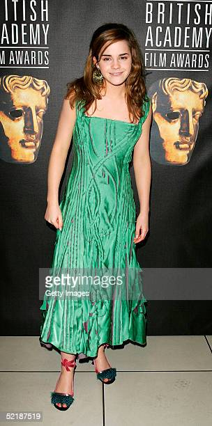 Actress Emma Watson arrives at The Orange British Academy Film Awards 2005 at the Odeon Leicester Square on February 12, 2005 in London.