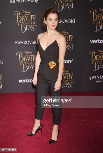 Actress Emma Watson arrives at the Premiere Of Disney's 'Beauty And The Beast' at the El Capitan Theatre on March 2 2017 in Los Angeles California