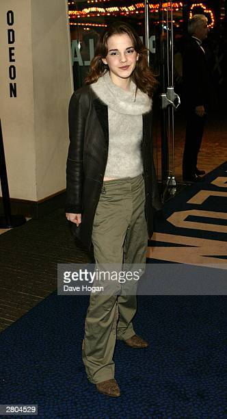 Actress Emma Watson arrives at the UK premiere of 'Lord of the Rings The Return of the King' at the Odeon Leicester Square on December 11 2003 in...