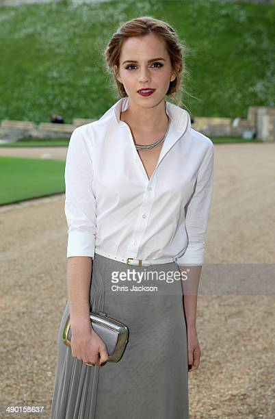 Actress Emma Watson arrives for a dinner to celebrate the work of The Royal Marsden hosted by the Duke of Cambridge at Windsor Castle on May 13, 2014...