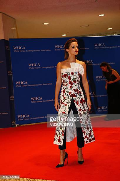 Actress Emma Watson arrives for the 102nd White House Correspondents' Association Dinner in Washington DC on April 30 2016 / AFP / Andrew Biraj