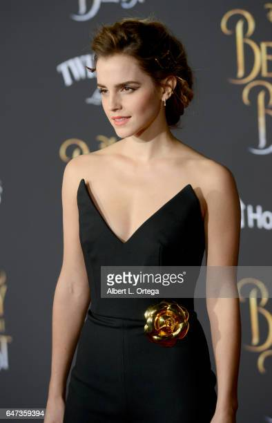 Actress Emma Watson arrives for the Premiere Of Disney's 'Beauty And The Beast' held at El Capitan Theatre on March 2 2017 in Los Angeles California