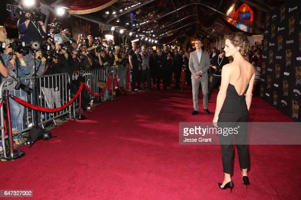 "Actress Emma Watson arrives for the world premiere of Disney's live-action ""Beauty and the Beast"" at the El Capitan Theatre in Hollywood as the cast..."