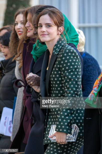 Actress Emma Watson arrives to attend the first meeting for G7 Advisory committee for Equality between women and men at Elysee Palace on February 19,...