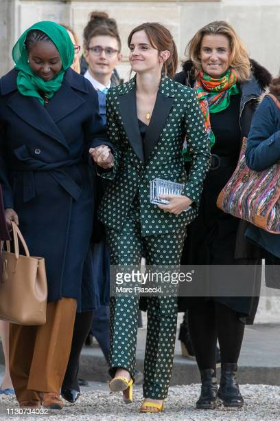 Actress Emma Watson arrives to attend the first meeting for G7 Advisory committee for Equality between women and men at Elysee Palace on February 19...