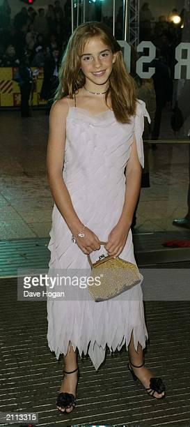 Actress Emma Watson at the world premiere of 'Harry Potter and the Chamber of Secrets' at the Odeon Leicester Square on November 3, 2002 in London,...
