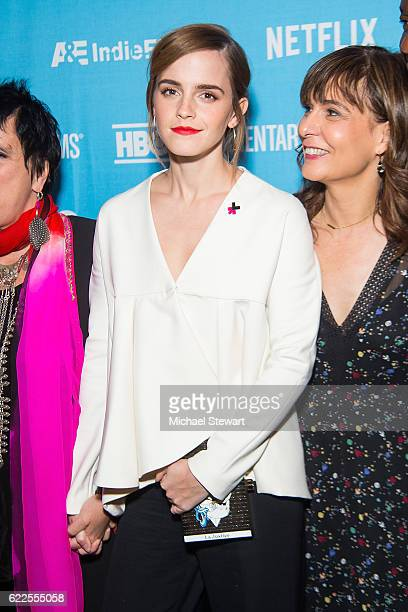 """Actress Emma Watson attends 2016 DOC NYC """"City of Joy"""" premiere at SVA Theater on November 11, 2016 in New York City."""