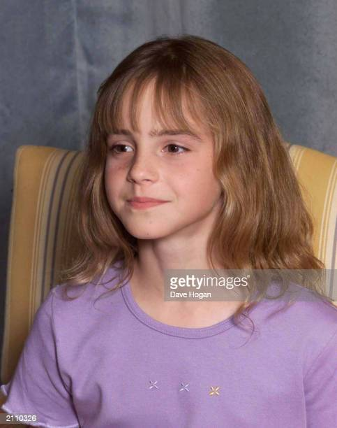 Actress Emma Watson attends a photocall to present the new cast of the Harry Potter Films London August 23 2000