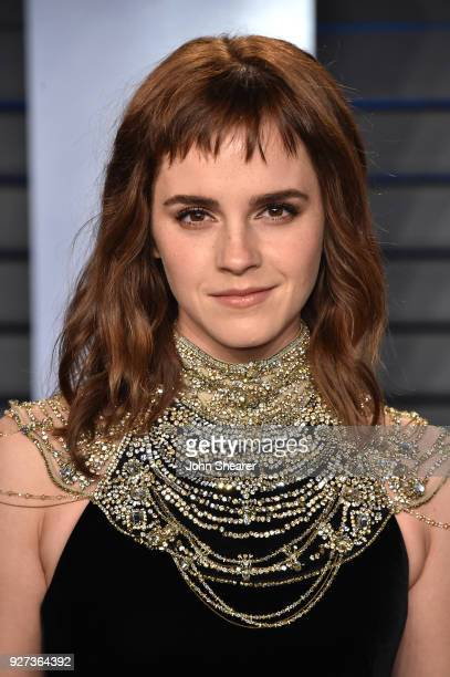 Actress Emma Watson attends the 2018 Vanity Fair Oscar Party hosted by Radhika Jones at Wallis Annenberg Center for the Performing Arts on March 4...