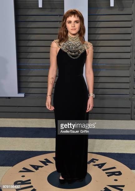 Actress Emma Watson attends the 2018 Vanity Fair Oscar Party hosted by Radhika Jones at Wallis Annenberg Center for the Performing Arts on March 4,...