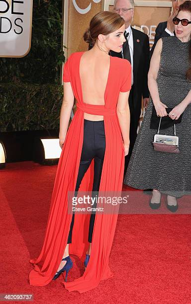 Actress Emma Watson attends the 71st Annual Golden Globe Awards held at The Beverly Hilton Hotel on January 12, 2014 in Beverly Hills, California.