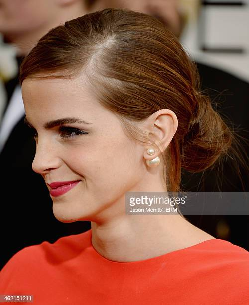 Actress Emma Watson attends the 71st Annual Golden Globe Awards held at The Beverly Hilton Hotel on January 12 2014 in Beverly Hills California