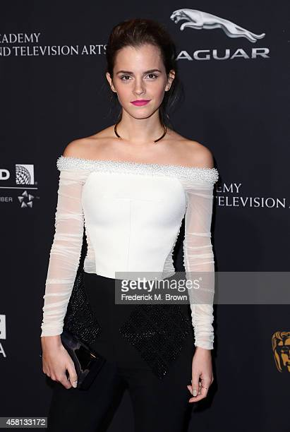Actress Emma Watson attends the BAFTA Los Angeles Jaguar Britannia Awards presented by BBC America and United Airlines at The Beverly Hilton Hotel on...
