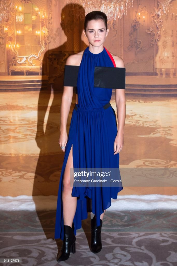 Actress Emma Watson attends the 'Beast And Beauty - La Belle Et La Bete' Paris Photocall at Hotel Meurice on February 20, 2017 in Paris, France.