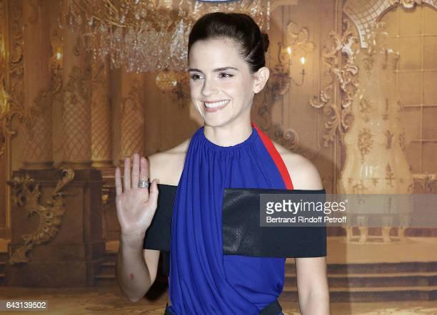Actress Emma Watson attends 'The Best and Beauty La Belle et la Bete' Paris Premiere at Hotel Meurice on February 20 2017 in Paris France