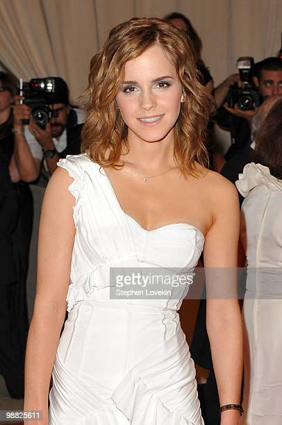 Actress Emma Watson attends the Costume Institute Gala Benefit to celebrate the opening of the American Woman Fashioning a National Identity...