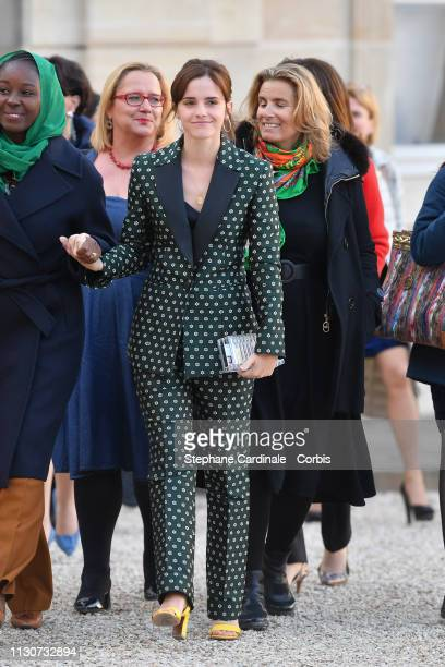Actress Emma Watson attends the first meeting G7 Advisory Committee For Equality Between Women and Men at Elysee Palace on February 19 2019 in Paris...