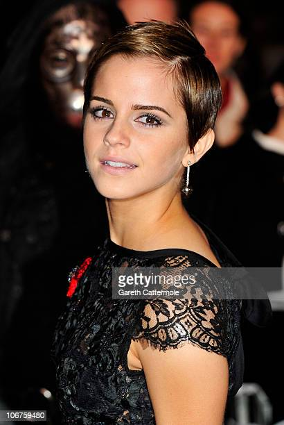 Actress Emma Watson attends the Harry Potter And The Deathly Hallows Part 1 World film premiere at Odeon Leicester Square on November 11 2010 in...
