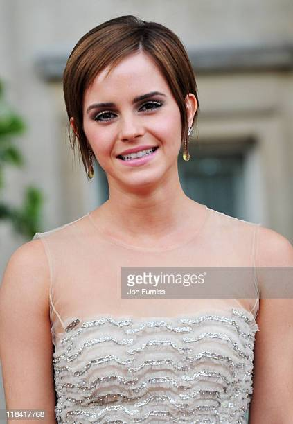Actress Emma Watson attends the 'Harry Potter And The Deathly Hallows Part 2' world premiere at Trafalgar Square on July 7 2011 in London England