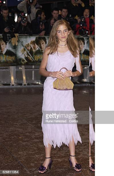 "Actress Emma Watson attends the London premiere of the film ""Harry Potter and the Chamber of Secrets."" Watson plays the role of Hermione Granger in..."