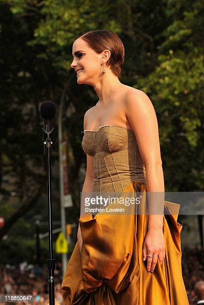 Actress Emma Watson attends the New York premiere of Harry Potter And The Deathly Hallows Part 2 at Avery Fisher Hall Lincoln Center on July 11 2011...