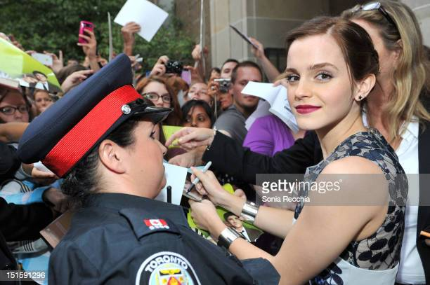 Actress Emma Watson attends The Perks Of Being A Wallflower premiere during the 2012 Toronto International Film Festival at Ryerson Theatre on...
