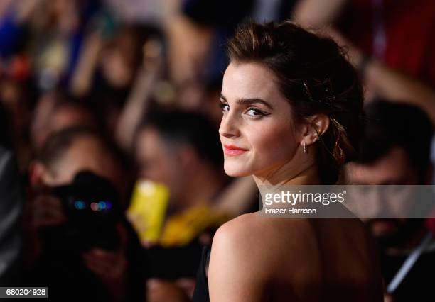 "Actress Emma watson attends the Premiere Of Disney's ""Beauty And The Beast"" at El Capitan Theatre on March 2, 2017 in Los Angeles, California."