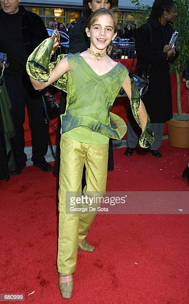 Actress Emma Watson attends the premiere of Harry Potter and the Sorcerer's Stone November 11 2001 at the Ziegfeld Theatre in New York City