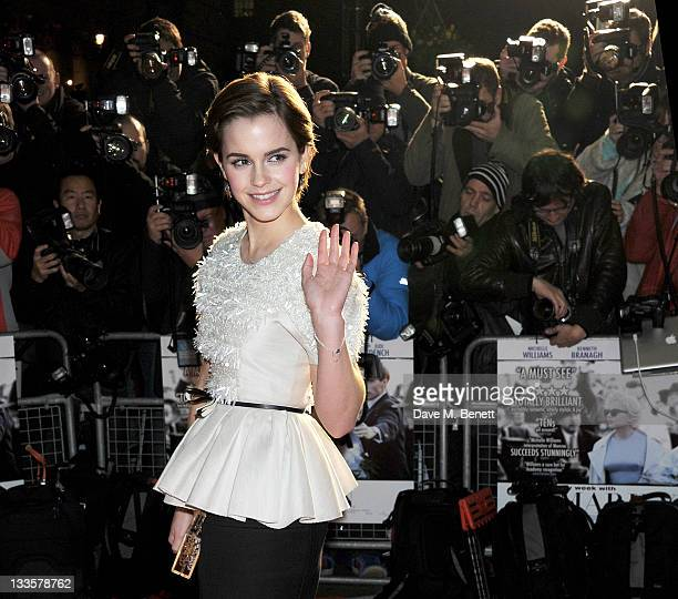 Actress Emma Watson attends the UK Premiere of 'My Week With Marilyn' at Cineworld Haymarket on November 20 2011 in London England