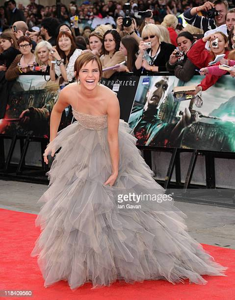 Actress Emma Watson attends the World Premiere of Harry Potter and The Deathly Hallows - Part 2 at Trafalgar Square on July 7, 2011 in London,...