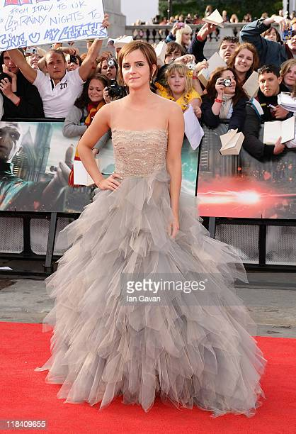 Actress Emma Watson attends the World Premiere of Harry Potter and The Deathly Hallows Part 2 at Trafalgar Square on July 7 2011 in London England