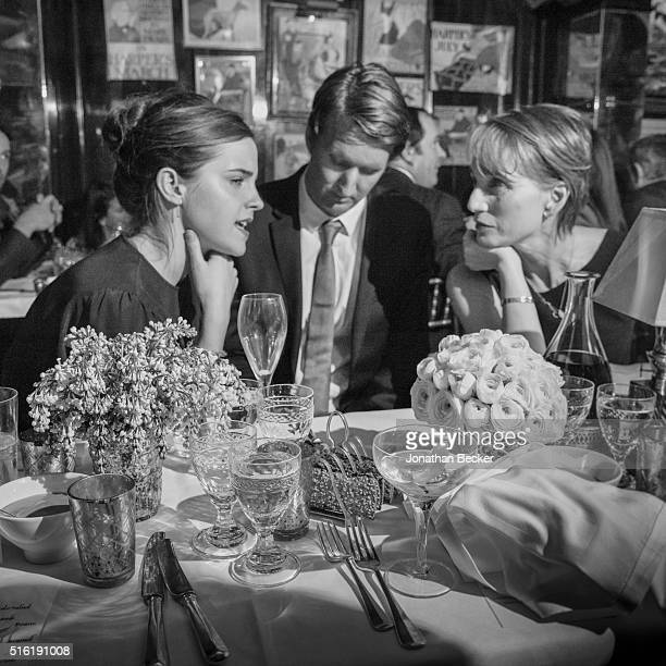 Actress Emma Watson director Tom Hooper and actress Kristen Scott Thomas are photographed at the Charles Finch and Chanel's PreBAFTA on February 7...