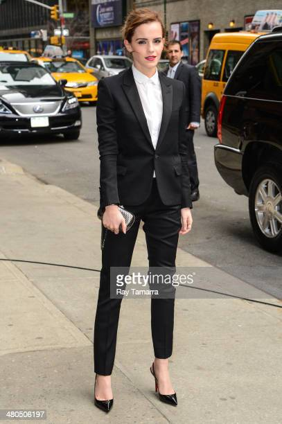 Actress Emma Watson enters the Late Show With David Letterman taping at the Ed Sullivan Theater on March 25 2014 in New York City