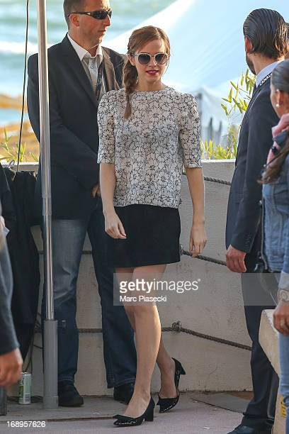 Actress Emma Watson is seen leaving the 'Le Grand Journal' TV show set during the 66th annual Cannes Film Festival on May 17 2013 in Cannes France