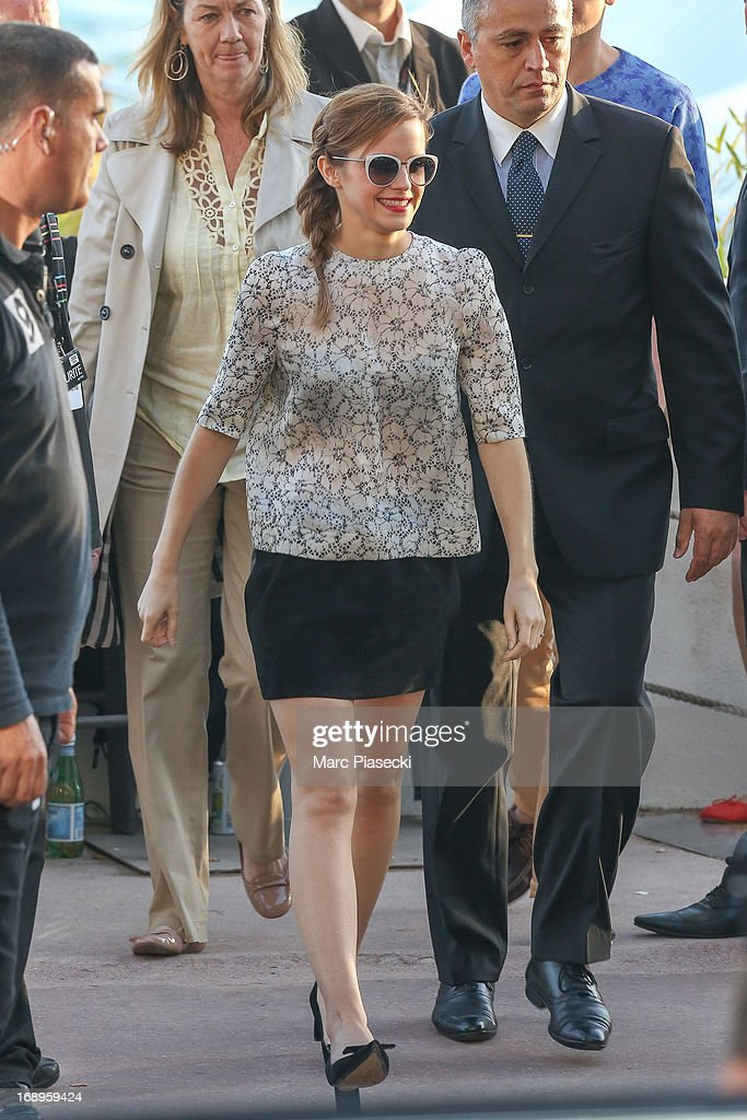 Actress Emma Watson is seen leaving the 'Le Grand Journal' TV show set during the 66th annual Cannes Film Festival on May 17, 2013 in Cannes, France.