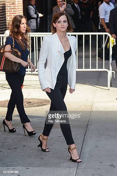 Actress Emma Watson leaves the 'Late Show With David Letterman' taping at the Ed Sullivan Theater on September 5 2012 in New York City