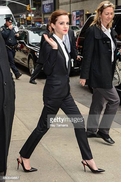 Actress Emma Watson leaves the Late Show With David Letterman taping at the Ed Sullivan Theater on March 25 2014 in New York City