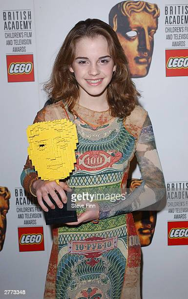 Actress Emma Watson poses in the pressroom at the British Academy Children's Film And Television Awards in association with The Lego Company at the...